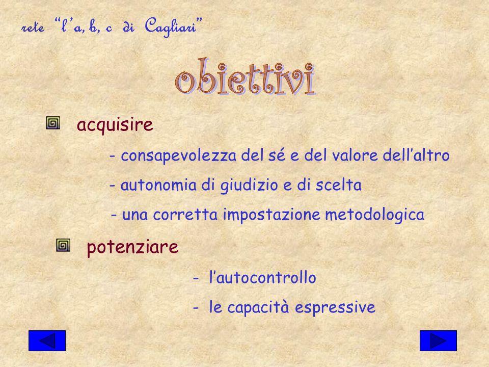 rete la, b, c di Cagliari acquisire - consapevolezza del sé e del valore dellaltro - autonomia di giudizio e di scelta - una corretta impostazione metodologica potenziare - lautocontrollo - le capacità espressive