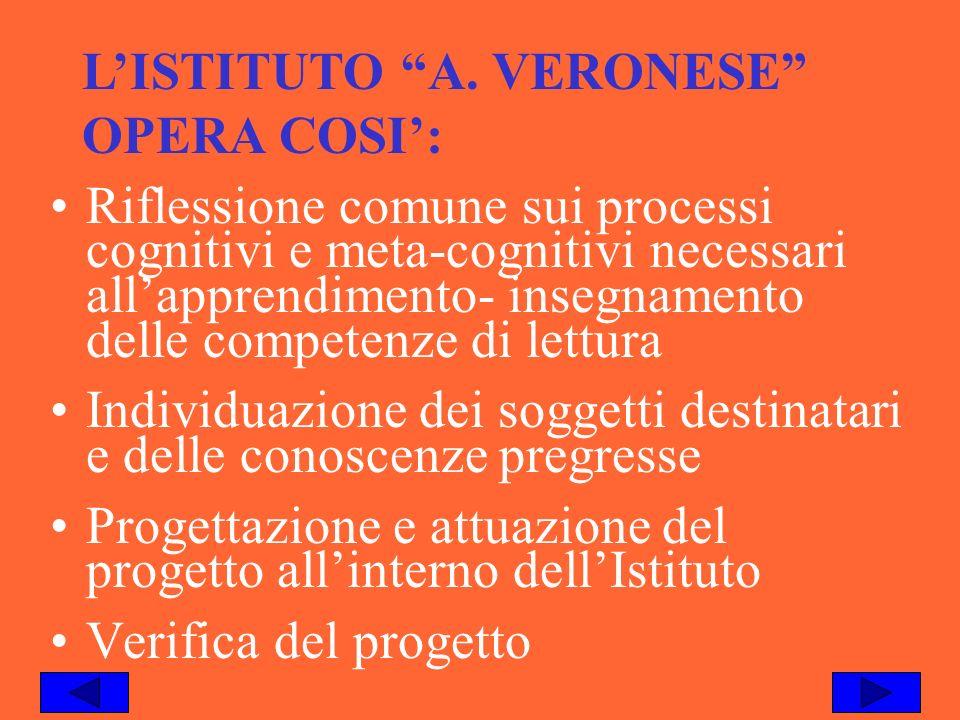 LISTITUTO A. VERONESE OPERA COSI: Riflessione comune sui processi cognitivi e meta-cognitivi necessari allapprendimento- insegnamento delle competenze