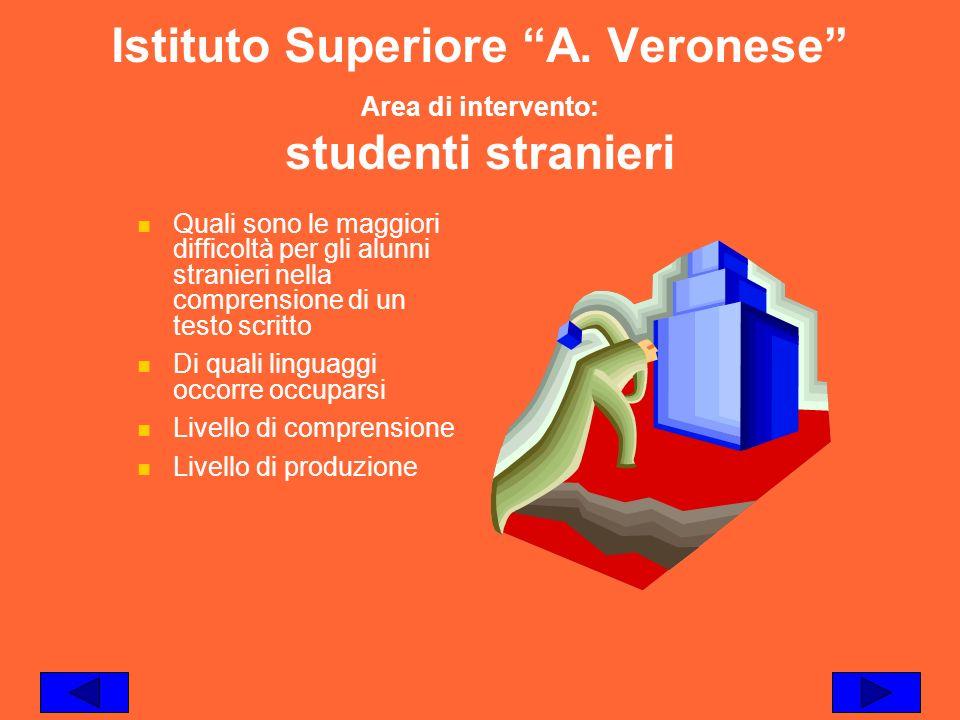 Istituto Superiore A. Veronese Area di intervento: studenti stranieri Quali sono le maggiori difficoltà per gli alunni stranieri nella comprensione di