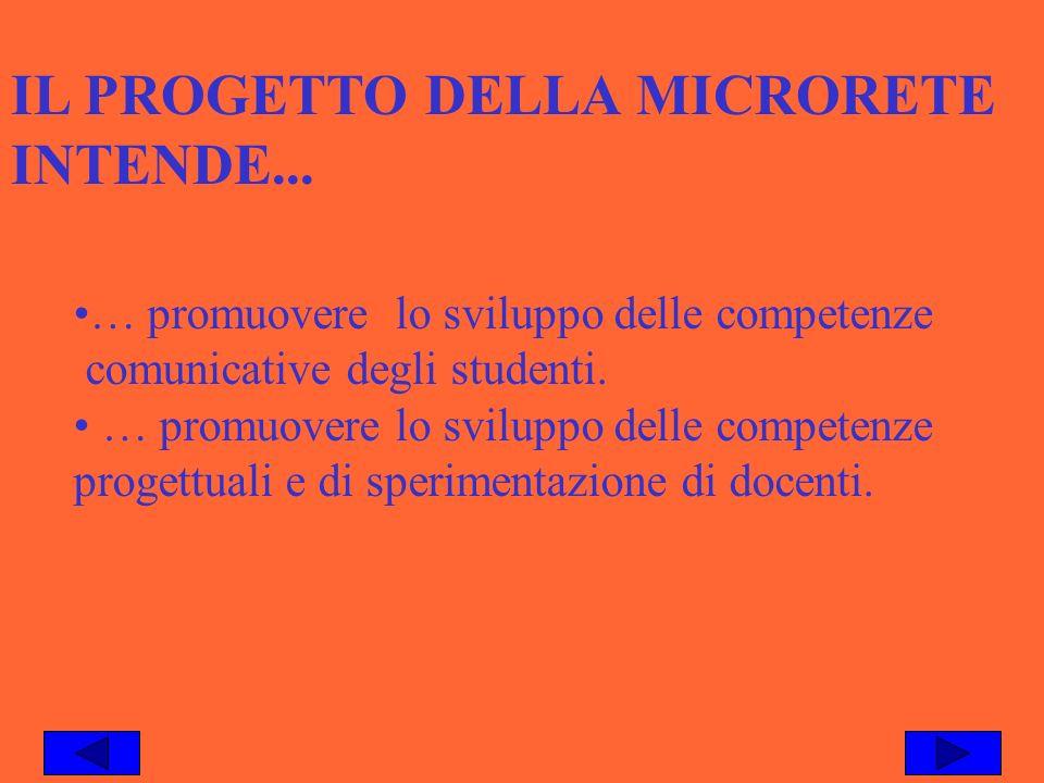 IL PROGETTO DELLA MICRORETE INTENDE... … promuovere lo sviluppo delle competenze comunicative degli studenti. … promuovere lo sviluppo delle competenz