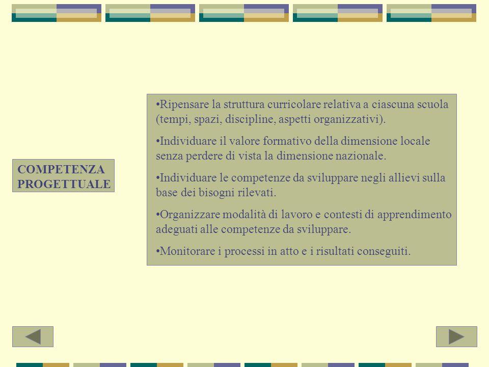 COMPETENZA CULTURALE E PEDAGOGICA Consapevolezza dei diversi tipi di approccio allidea di conoscenza.