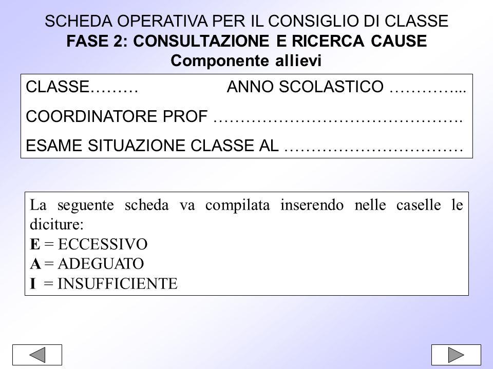 SCHEDA OPERATIVA PER IL CONSIGLIO DI CLASSE FASE 2: CONSULTAZIONE E RICERCA CAUSE Componente allievi CLASSE……… ANNO SCOLASTICO …………...