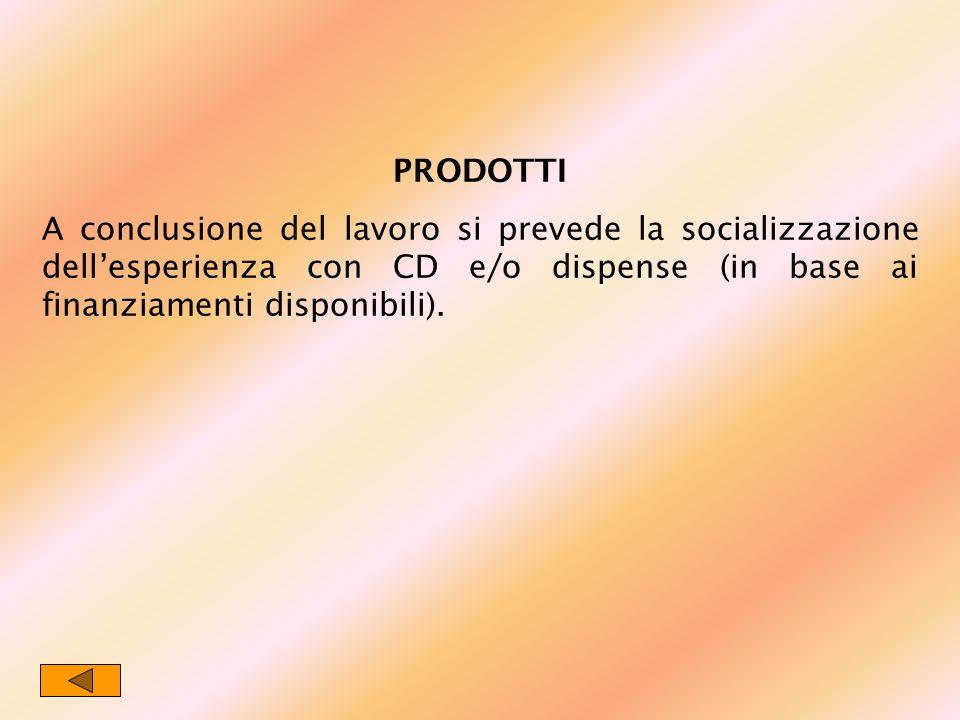 PRODOTTI A conclusione del lavoro si prevede la socializzazione dellesperienza con CD e/o dispense (in base ai finanziamenti disponibili).