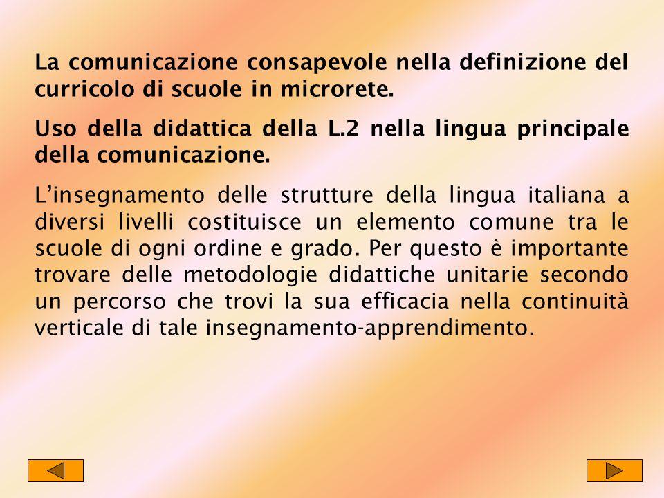 La comunicazione consapevole nella definizione del curricolo di scuole in microrete. Uso della didattica della L.2 nella lingua principale della comun