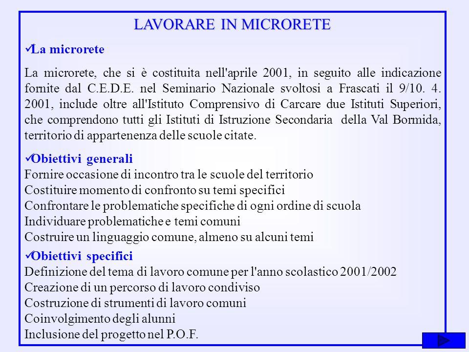 Modalità di lavoro Anno scolastico 2000/2001 Costituzione della microrete.