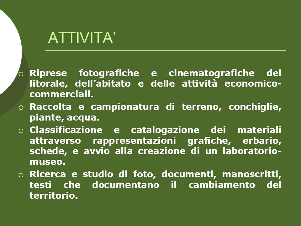 ATTIVITA Riprese fotografiche e cinematografiche del litorale, dellabitato e delle attività economico- commerciali.
