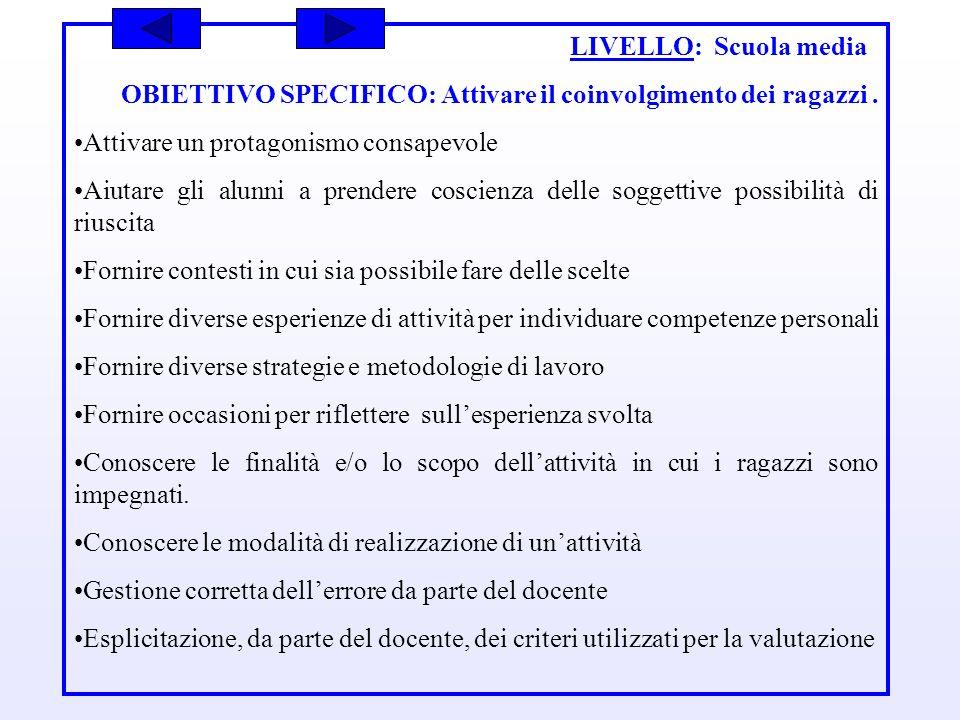 LIVELLO: Scuola media OBIETTIVO SPECIFICO: Attivare il coinvolgimento dei ragazzi. Attivare un protagonismo consapevole Aiutare gli alunni a prendere