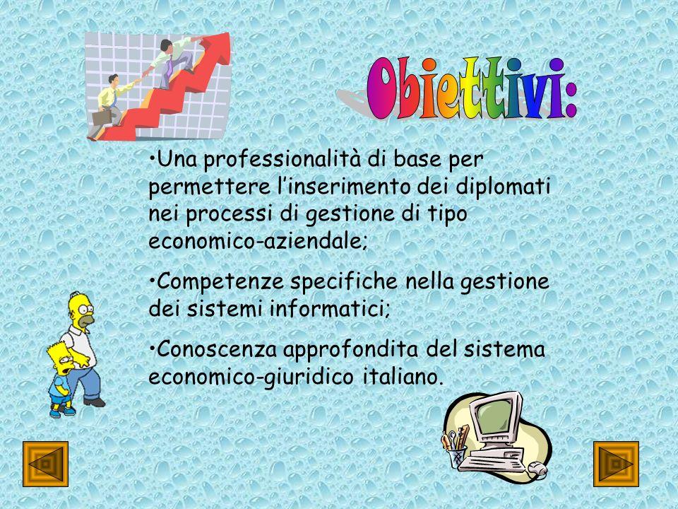 Una professionalità di base per permettere linserimento dei diplomati nei processi di gestione di tipo economico-aziendale; Competenze specifiche nella gestione dei sistemi informatici; Conoscenza approfondita del sistema economico-giuridico italiano.