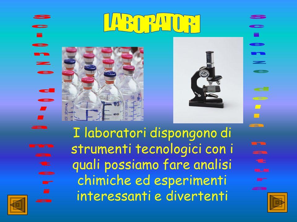 I laboratori dispongono di strumenti tecnologici con i quali possiamo fare analisi chimiche ed esperimenti interessanti e divertenti