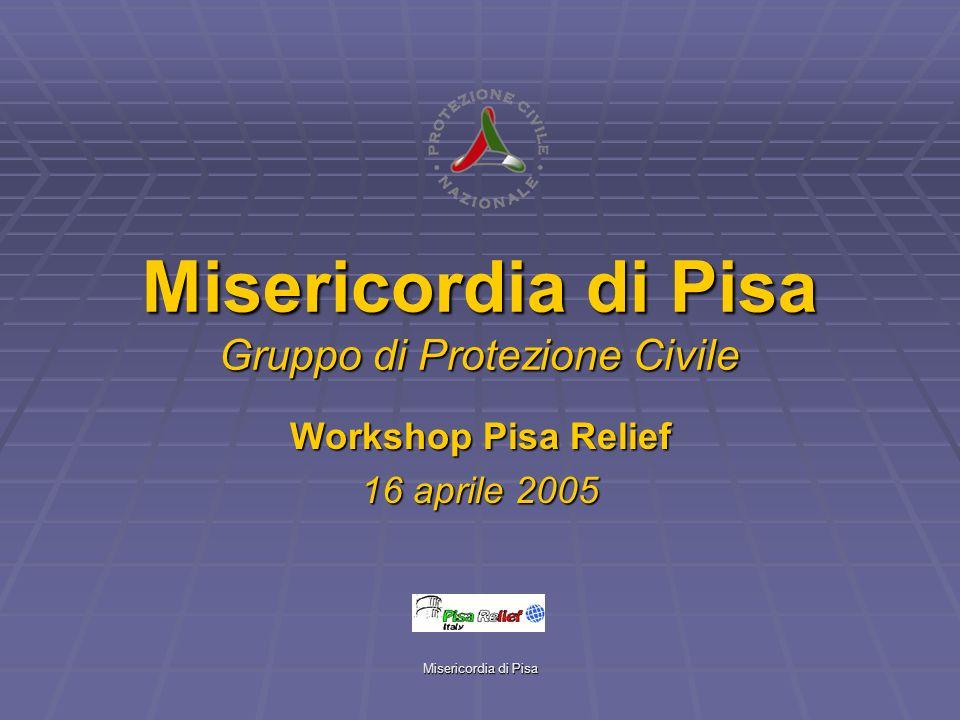 Misericordia di Pisa Misericordia di Pisa Gruppo di Protezione Civile Workshop Pisa Relief 16 aprile 2005
