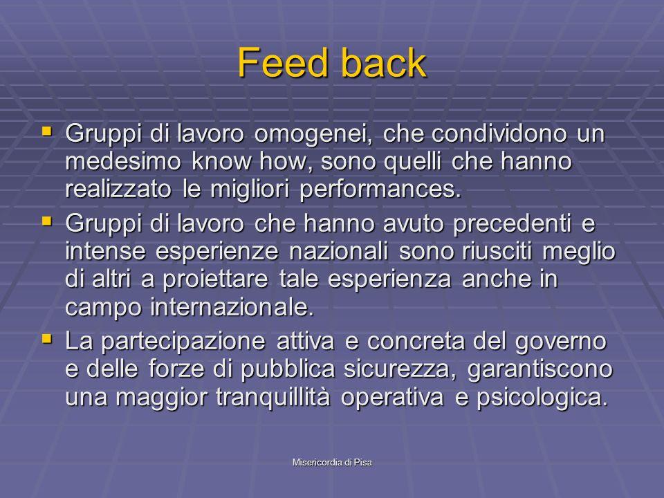 Misericordia di Pisa Feed back Gruppi di lavoro omogenei, che condividono un medesimo know how, sono quelli che hanno realizzato le migliori performances.