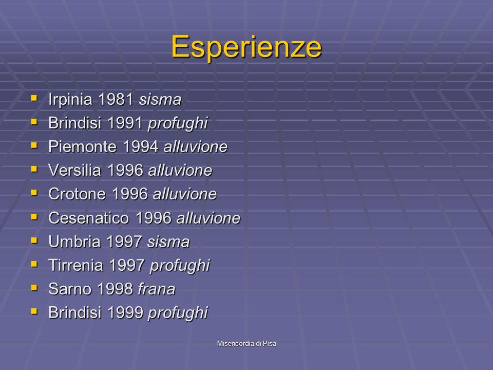 Misericordia di Pisa Esperienze Irpinia 1981 sisma Irpinia 1981 sisma Brindisi 1991 profughi Brindisi 1991 profughi Piemonte 1994 alluvione Piemonte 1994 alluvione Versilia 1996 alluvione Versilia 1996 alluvione Crotone 1996 alluvione Crotone 1996 alluvione Cesenatico 1996 alluvione Cesenatico 1996 alluvione Umbria 1997 sisma Umbria 1997 sisma Tirrenia 1997 profughi Tirrenia 1997 profughi Sarno 1998 frana Sarno 1998 frana Brindisi 1999 profughi Brindisi 1999 profughi