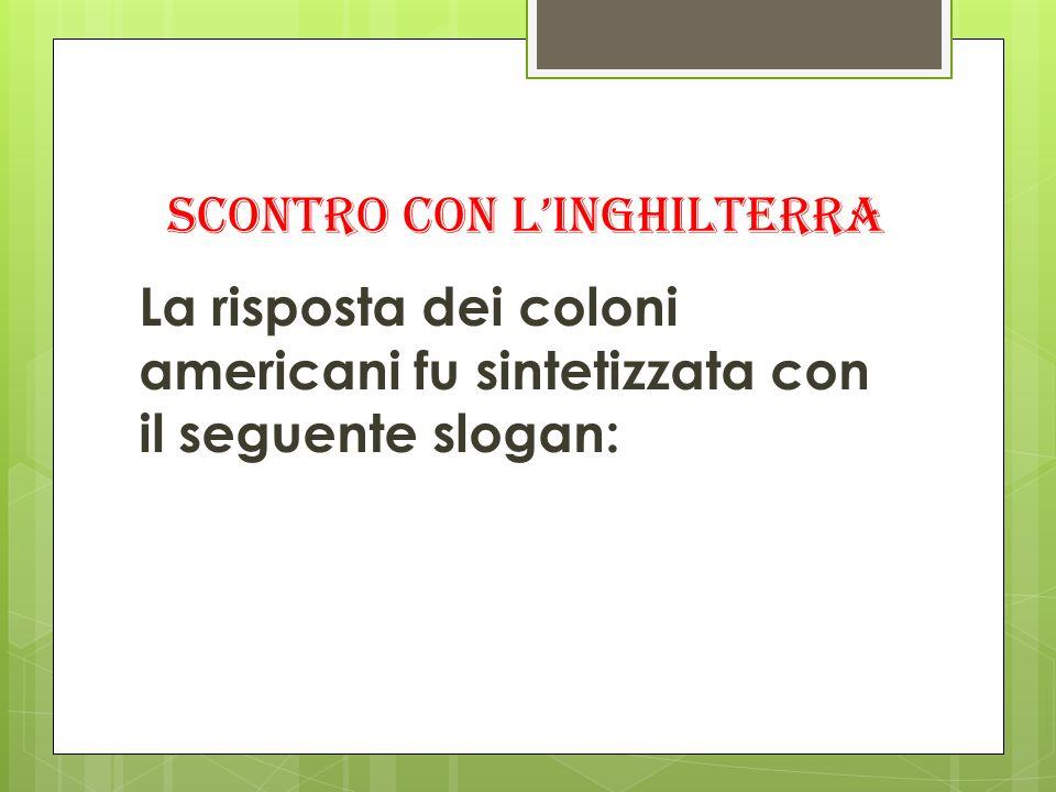 SCONTRO CON LINGHILTERRA La risposta dei coloni americani fu sintetizzata con il seguente slogan: