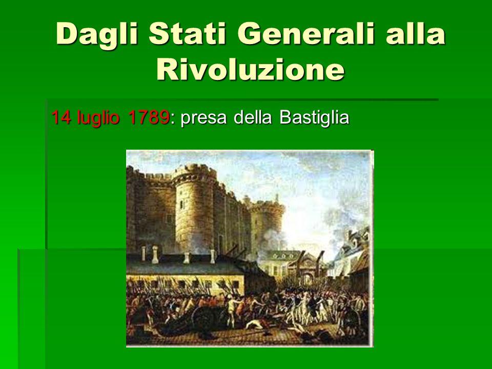 Dagli Stati Generali alla Rivoluzione 14 luglio 1789: presa della Bastiglia