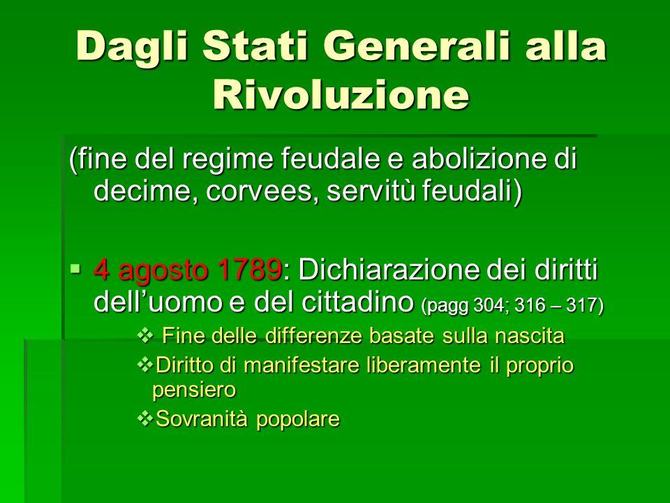 Dagli Stati Generali alla Rivoluzione (fine del regime feudale e abolizione di decime, corvees, servitù feudali) 4 agosto 1789: Dichiarazione dei diri
