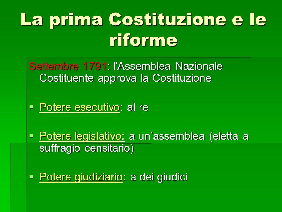 La prima Costituzione e le riforme Settembre 1791: lAssemblea Nazionale Costituente approva la Costituzione Potere esecutivo: al re Potere esecutivo: