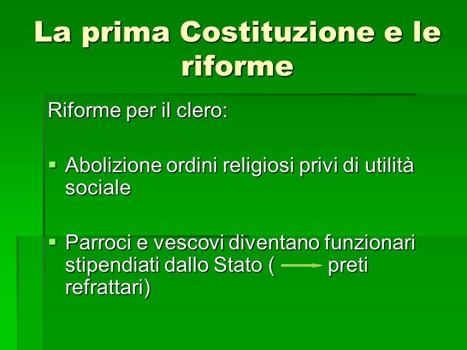 La prima Costituzione e le riforme Riforme per il clero: Abolizione ordini religiosi privi di utilità sociale Abolizione ordini religiosi privi di uti