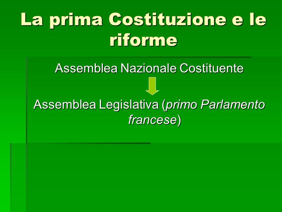 La prima Costituzione e le riforme Assemblea Nazionale Costituente Assemblea Legislativa (primo Parlamento francese)
