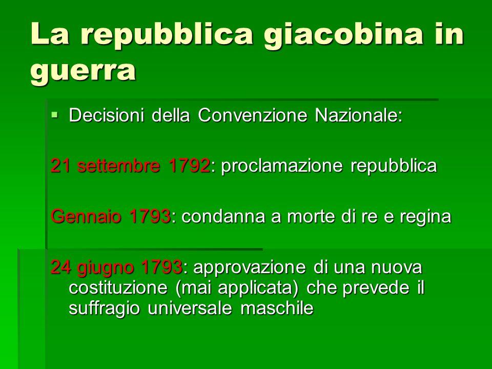 La repubblica giacobina in guerra Decisioni della Convenzione Nazionale: Decisioni della Convenzione Nazionale: 21 settembre 1792: proclamazione repub