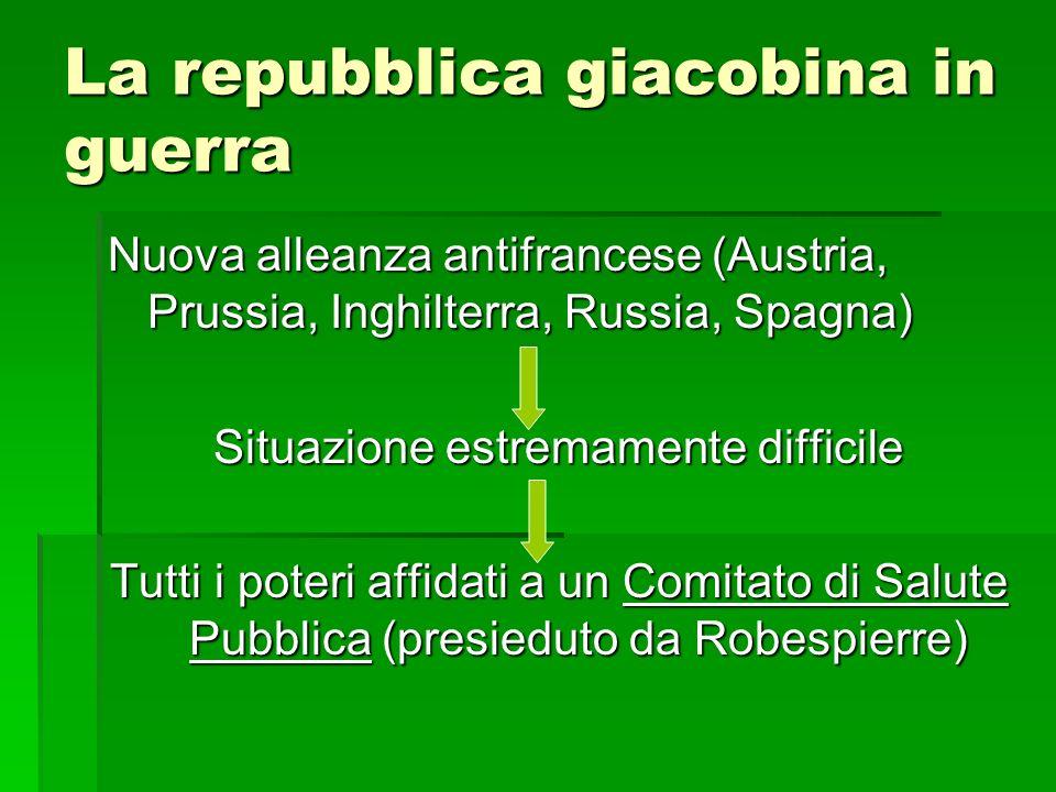 La repubblica giacobina in guerra Nuova alleanza antifrancese (Austria, Prussia, Inghilterra, Russia, Spagna) Situazione estremamente difficile Tutti