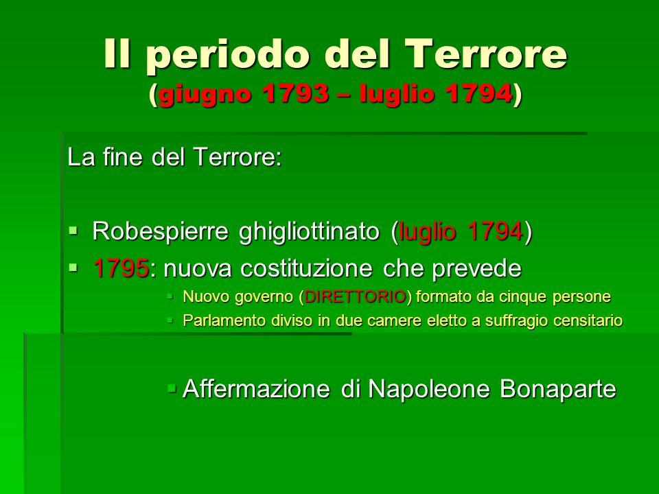 Il periodo del Terrore (giugno 1793 – luglio 1794) La fine del Terrore: Robespierre ghigliottinato (luglio 1794) Robespierre ghigliottinato (luglio 17