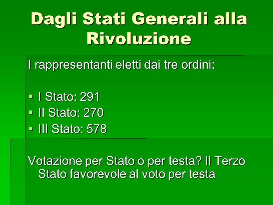 Dagli Stati Generali alla Rivoluzione I rappresentanti eletti dai tre ordini: I Stato: 291 I Stato: 291 II Stato: 270 II Stato: 270 III Stato: 578 III