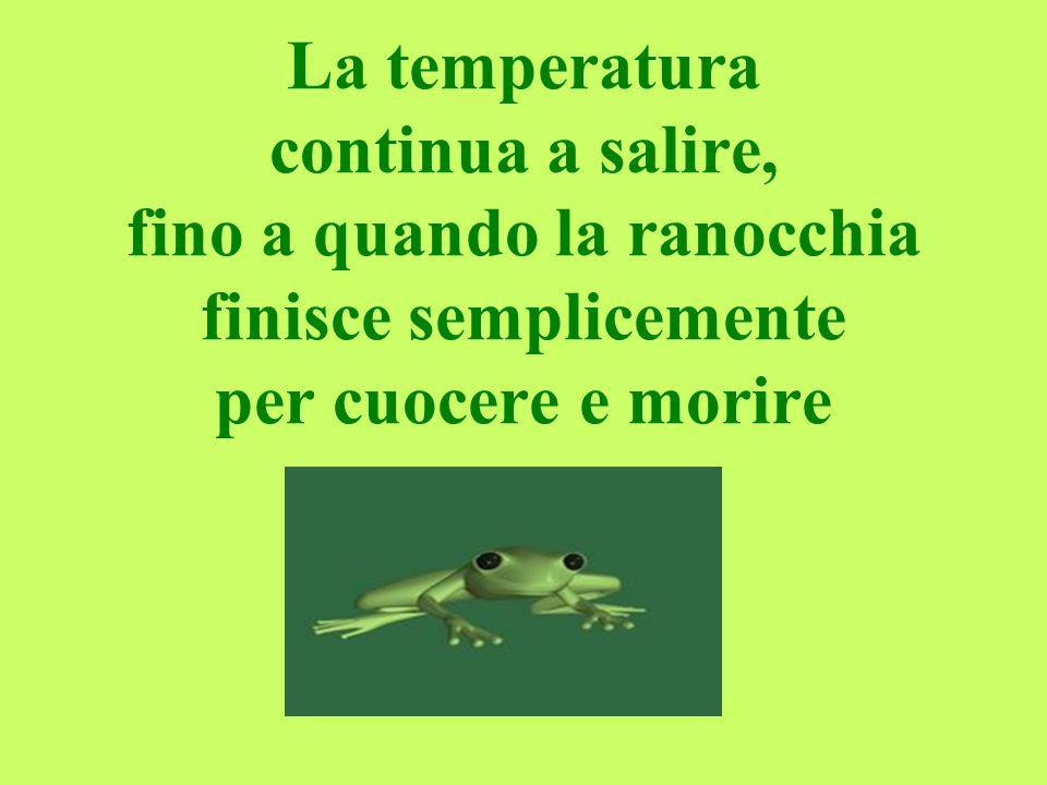 La temperatura continua a salire, fino a quando la ranocchia finisce semplicemente per cuocere e morire