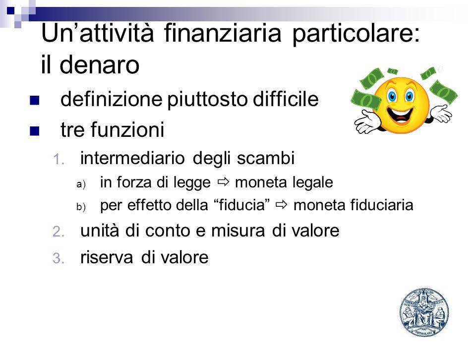 Unattività finanziaria particolare: il denaro definizione piuttosto difficile tre funzioni 1. intermediario degli scambi a) in forza di legge moneta l