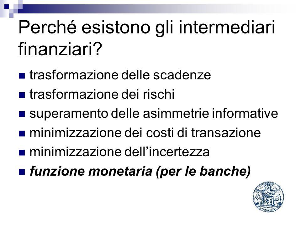 Perché esistono gli intermediari finanziari? trasformazione delle scadenze trasformazione dei rischi superamento delle asimmetrie informative minimizz