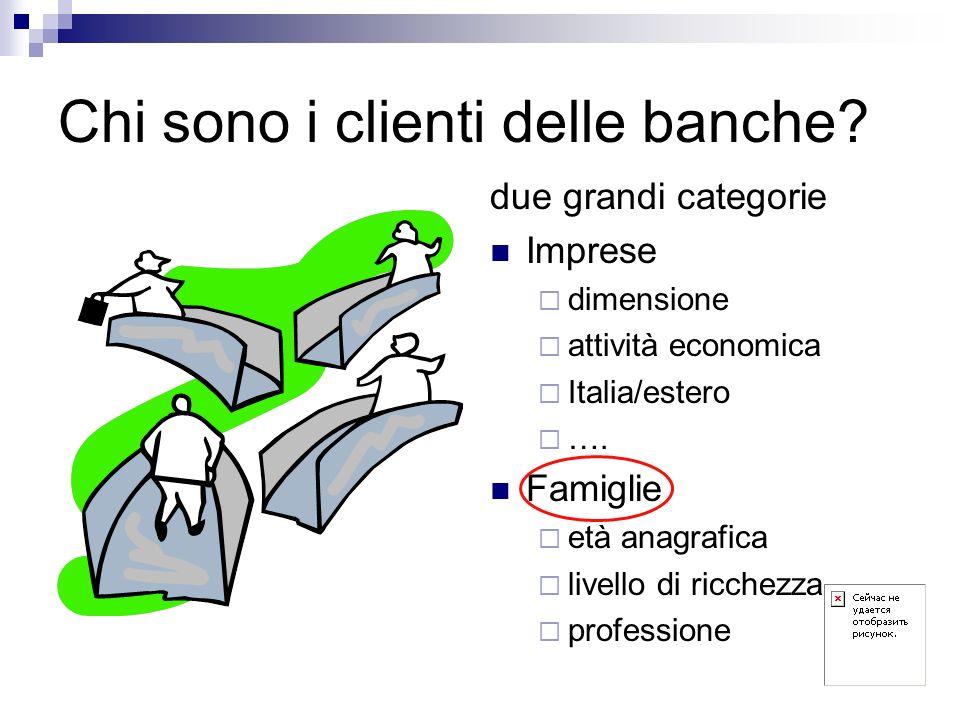 Chi sono i clienti delle banche? due grandi categorie Imprese dimensione attività economica Italia/estero …. Famiglie età anagrafica livello di ricche