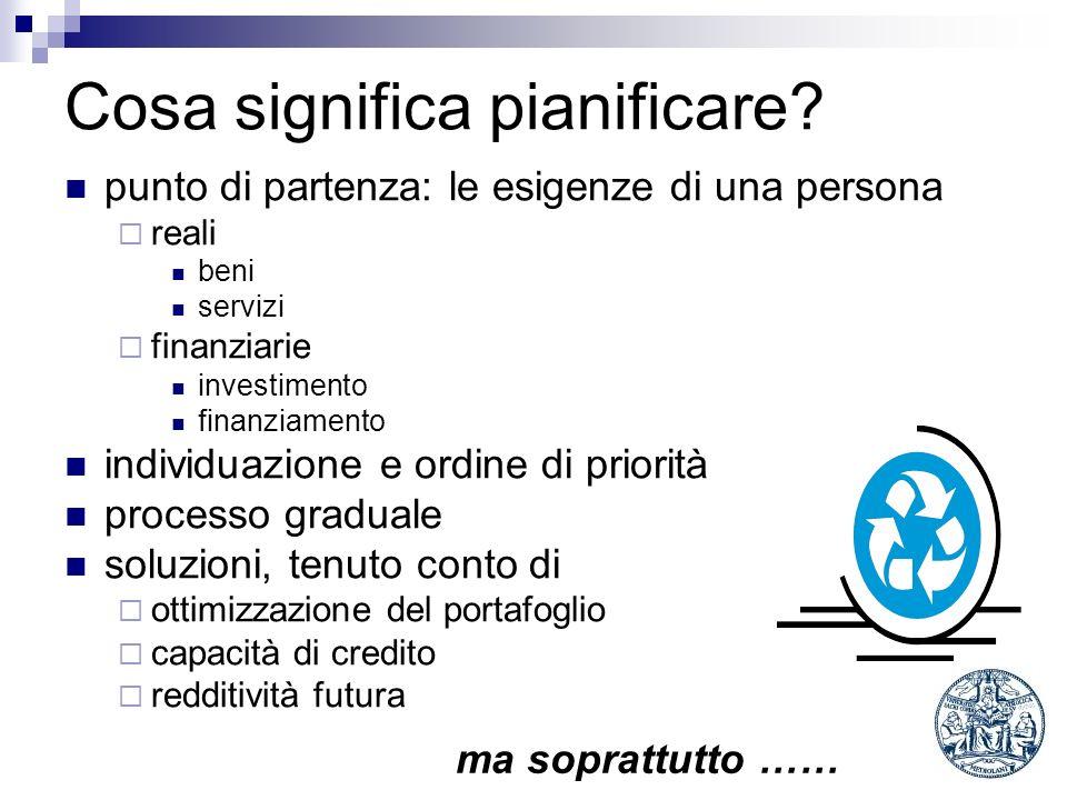 Cosa significa pianificare? punto di partenza: le esigenze di una persona reali beni servizi finanziarie investimento finanziamento individuazione e o