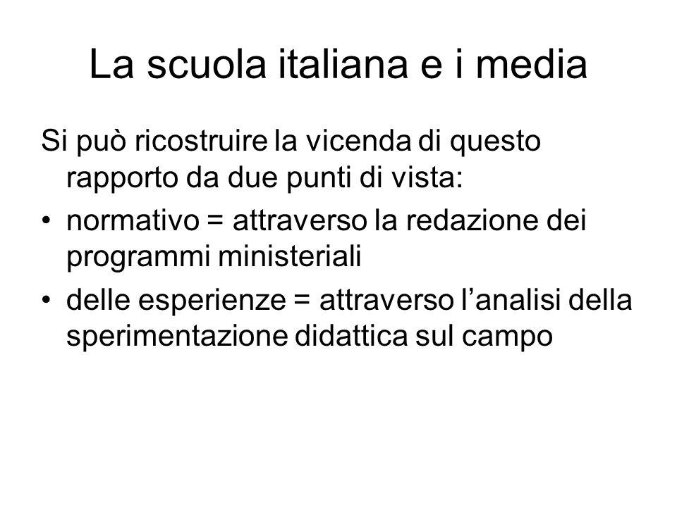 La scuola italiana e i media Si può ricostruire la vicenda di questo rapporto da due punti di vista: normativo = attraverso la redazione dei programmi