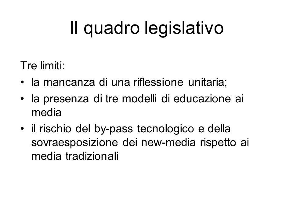 Il quadro legislativo Tre limiti: la mancanza di una riflessione unitaria; la presenza di tre modelli di educazione ai media il rischio del by-pass te