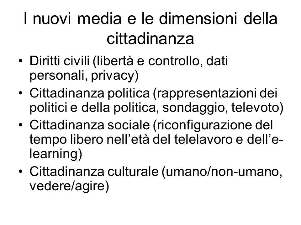 I nuovi media e le dimensioni della cittadinanza Diritti civili (libertà e controllo, dati personali, privacy) Cittadinanza politica (rappresentazioni