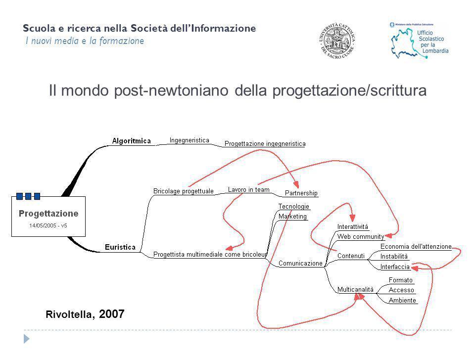 Scuola e ricerca nella Società dellInformazione I nuovi media e la formazione Il mondo post-newtoniano della progettazione/scrittura Rivoltella, 2007