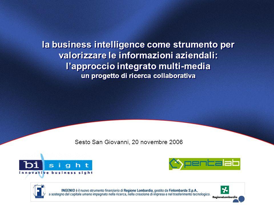 la business intelligence come strumento per valorizzare le informazioni aziendali: lapproccio integrato multi-media un progetto di ricerca collaborativa Sesto San Giovanni, 20 novembre 2006