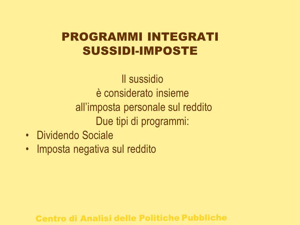 Centro di Analisi delle Politiche Pubbliche PROGRAMMI INTEGRATI SUSSIDI-IMPOSTE Il sussidio è considerato insieme allimposta personale sul reddito Due