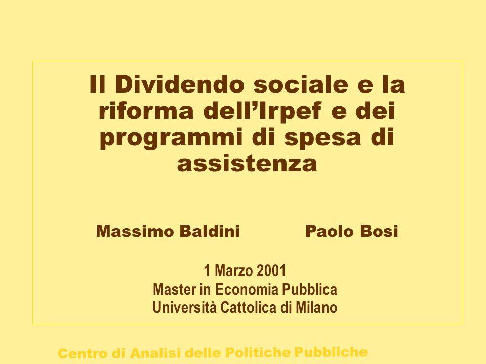 Centro di Analisi delle Politiche Pubbliche Il Dividendo sociale e la riforma dellIrpef e dei programmi di spesa di assistenza Massimo Baldini Paolo B