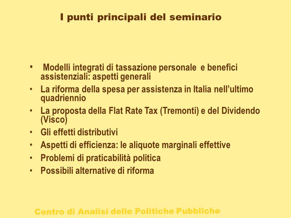 Centro di Analisi delle Politiche Pubbliche I punti principali del seminario Modelli integrati di tassazione personale e benefici assistenziali: aspet