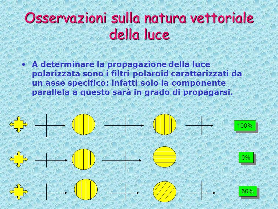Osservazioni sulla natura vettoriale della luce A determinare la propagazione della luce polarizzata sono i filtri polaroid caratterizzati da un asse