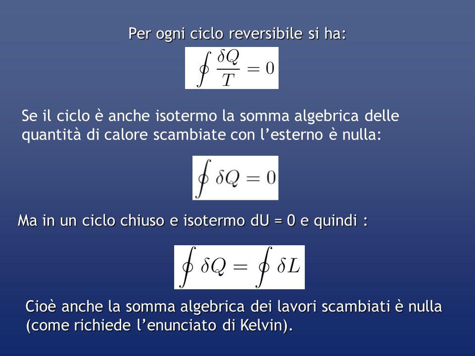 Per ogni ciclo reversibile si ha: Se il ciclo è anche isotermo la somma algebrica delle quantità di calore scambiate con lesterno è nulla: Ma in un ci