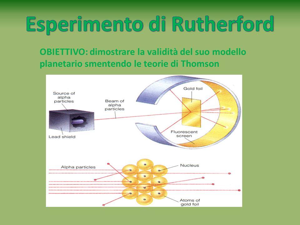 OBIETTIVO: dimostrare la validità del suo modello planetario smentendo le teorie di Thomson