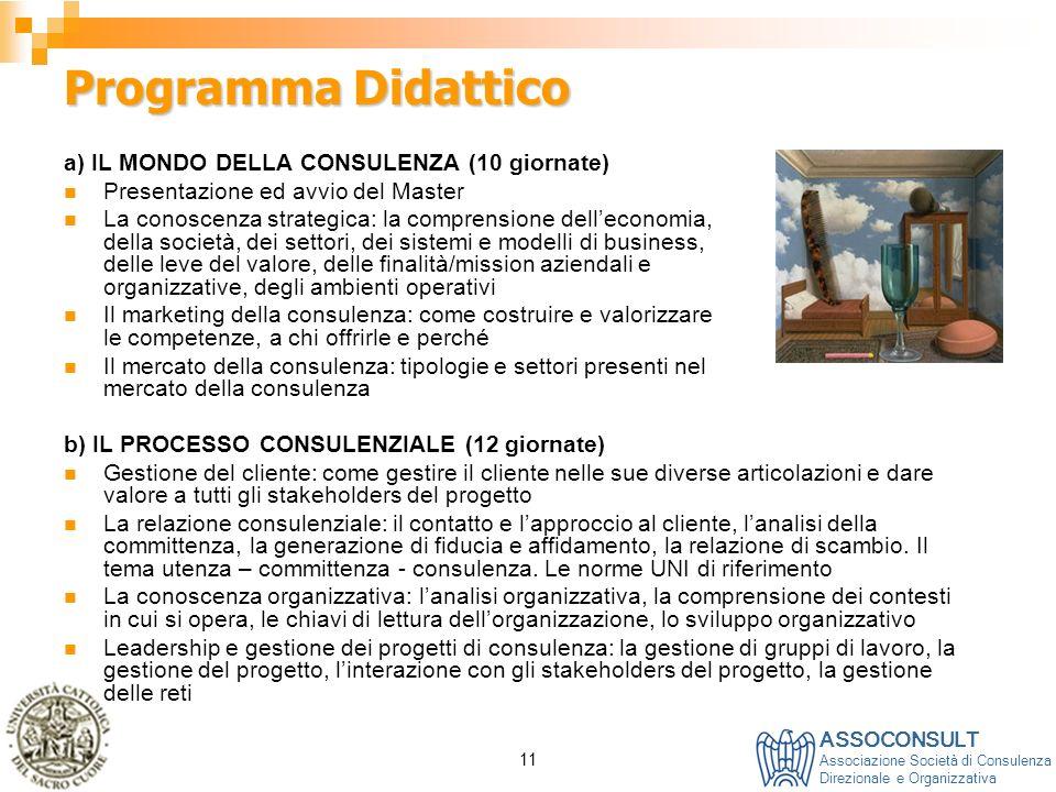 ASSOCONSULT Associazione Società di Consulenza Direzionale e Organizzativa 11 Programma Didattico a) IL MONDO DELLA CONSULENZA (10 giornate) Presentaz