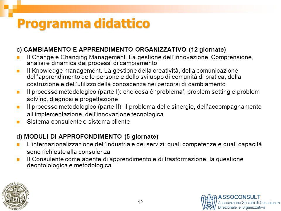 ASSOCONSULT Associazione Società di Consulenza Direzionale e Organizzativa 12 Programma didattico c) CAMBIAMENTO E APPRENDIMENTO ORGANIZZATIVO (12 gio