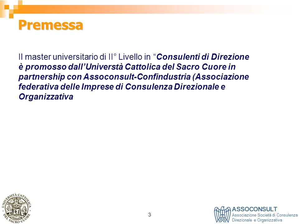 ASSOCONSULT Associazione Società di Consulenza Direzionale e Organizzativa 3 Premessa Il master universitario di II° Livello in Consulenti di Direzion