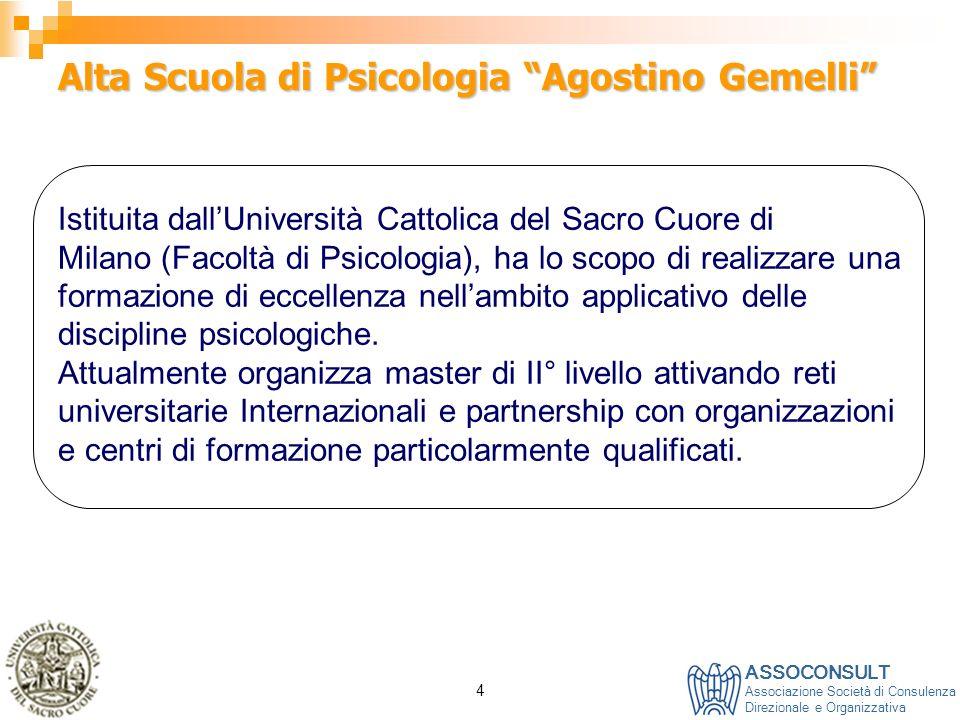 ASSOCONSULT Associazione Società di Consulenza Direzionale e Organizzativa 4 Alta Scuola di Psicologia Agostino Gemelli Istituita dallUniversità Catto