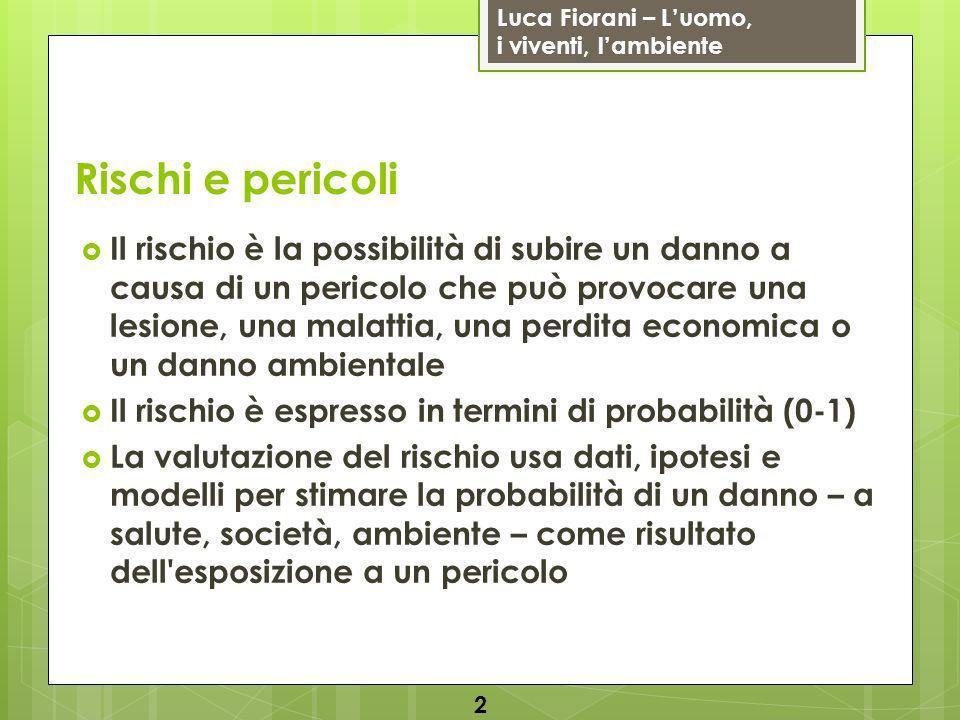 Luca Fiorani – Luomo, i viventi, lambiente Analisi del rischio La valutazione del rischio è limitata e incerta (ad es.