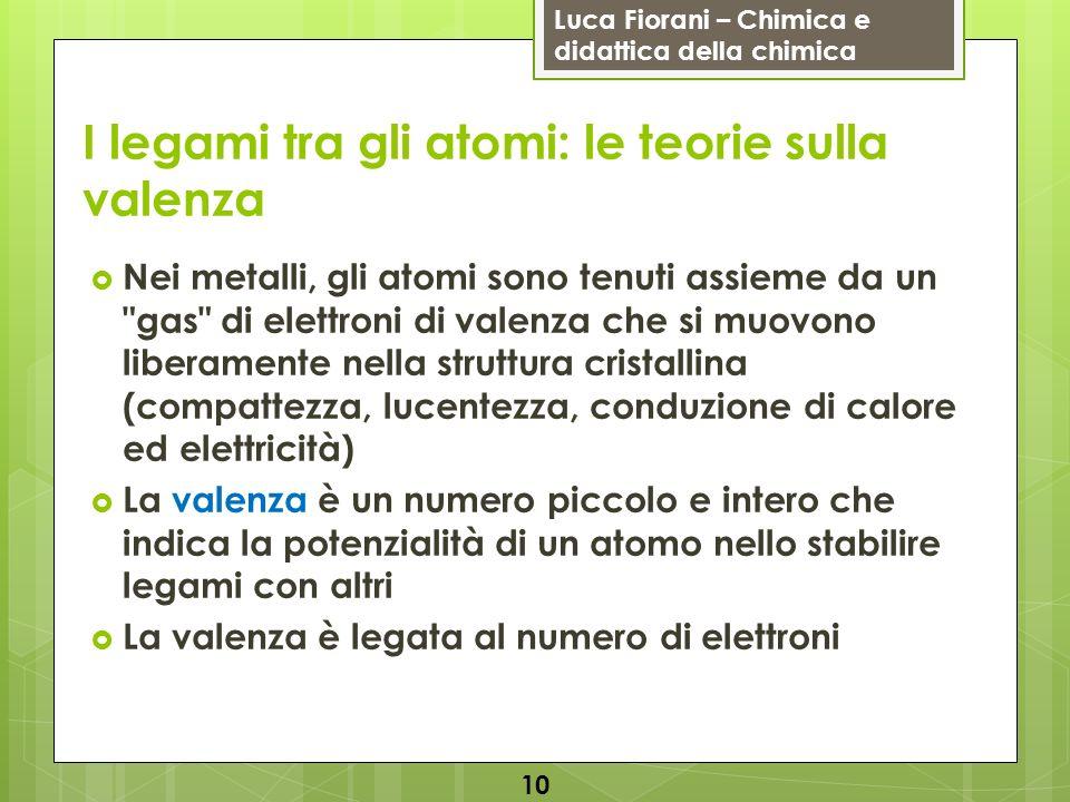 Luca Fiorani – Chimica e didattica della chimica I legami tra gli atomi: le teorie sulla valenza Nei metalli, gli atomi sono tenuti assieme da un