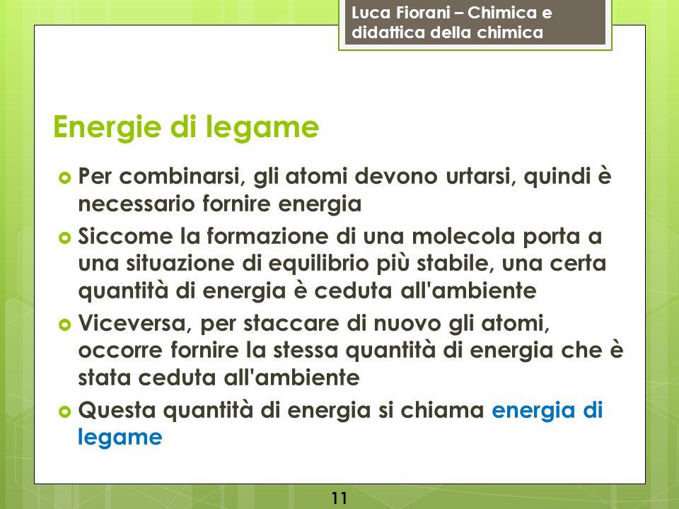 Luca Fiorani – Chimica e didattica della chimica Energie di legame Per combinarsi, gli atomi devono urtarsi, quindi è necessario fornire energia Sicco