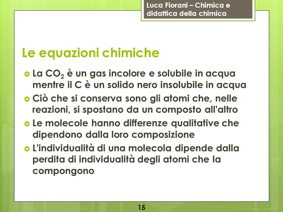 Luca Fiorani – Chimica e didattica della chimica Le equazioni chimiche La CO 2 è un gas incolore e solubile in acqua mentre il C è un solido nero inso